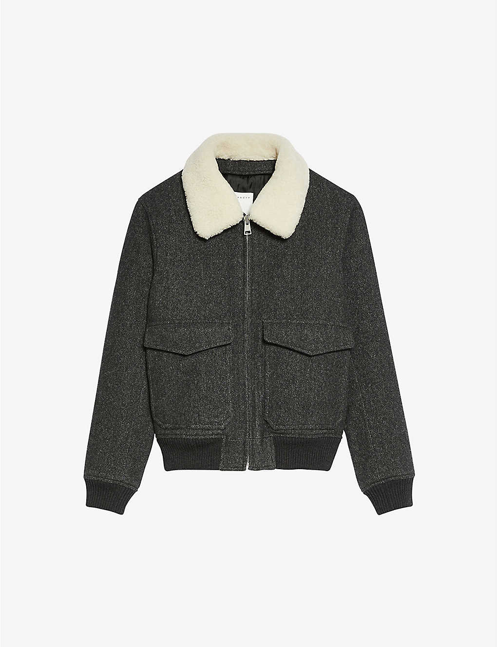 SANDRO: Shearling-trimmed wool-blend aviator jacket