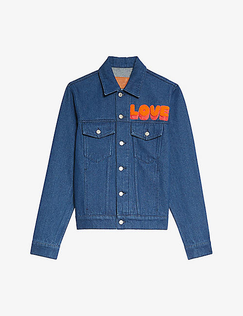 SANDRO: Slogan-print cropped denim jacket