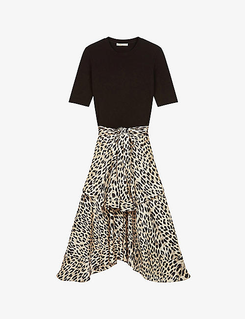MAJE: Raprile leopard print skirt midi dress