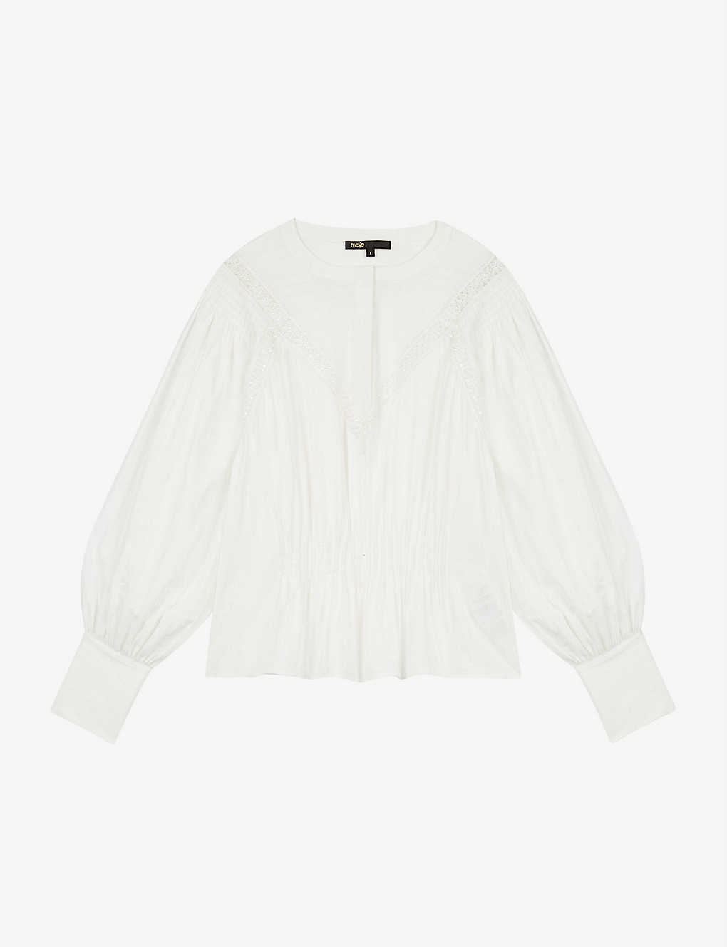 MAJE: Long-sleeved lace-trimmed cotton blouse
