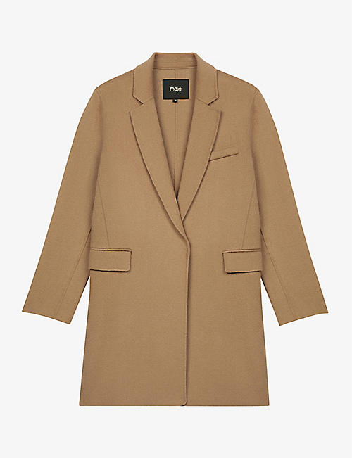 MAJE: Galami straight-cut wool-blend coat