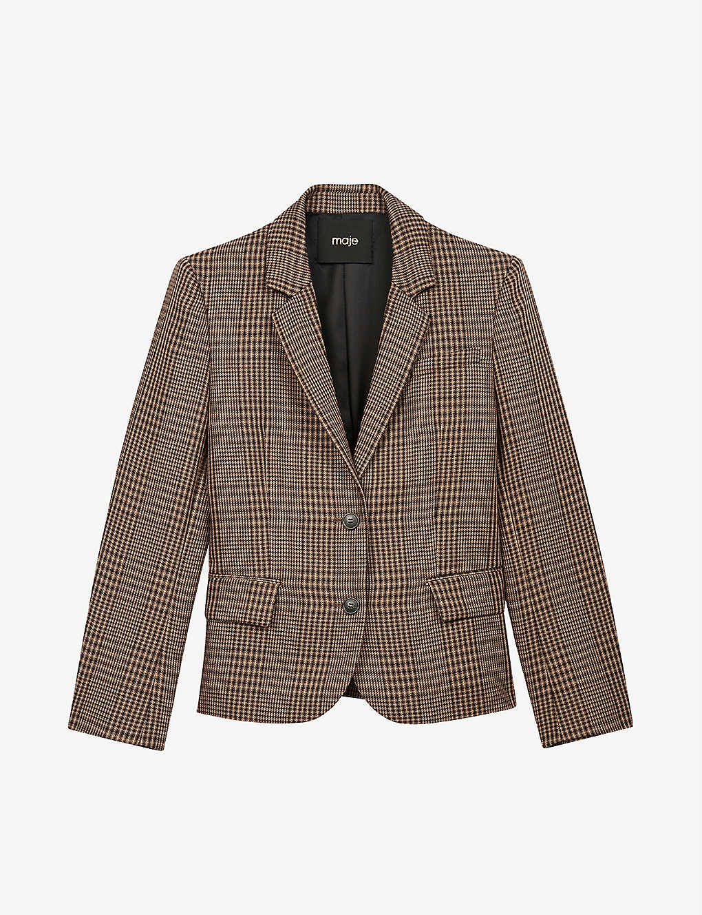 MAJE: Vedela checked slim-fit woven blazer
