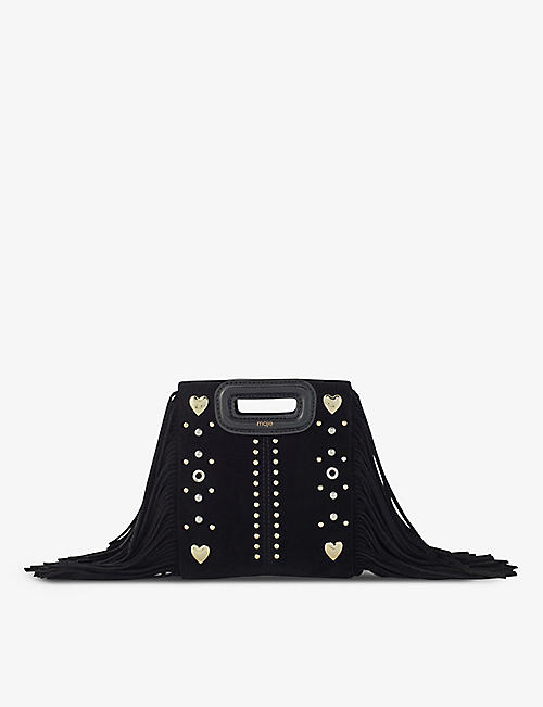 MAJE: Mini M embellished suede bag