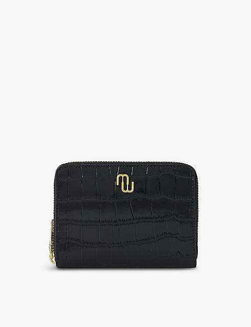 MAJE: Double-M monogram croc-embossed leather wallet