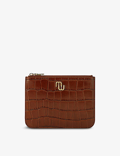 MAJE: Zipped croc-embossed leather pouch
