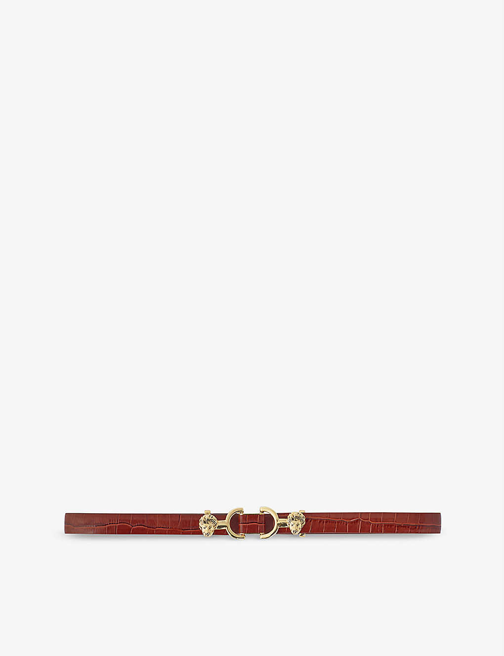 MAJE: Amor horsebit-embellished croc-embossed leather belt