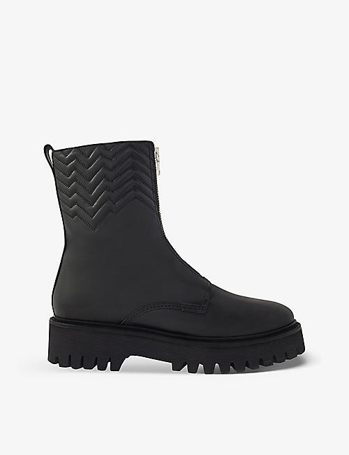 MAJE: Field zip-front leather boots