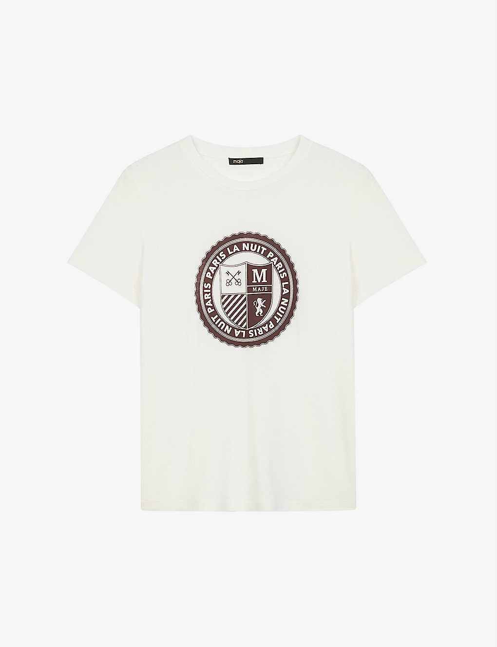 MAJE: Crest-print cotton-blend T-shirt