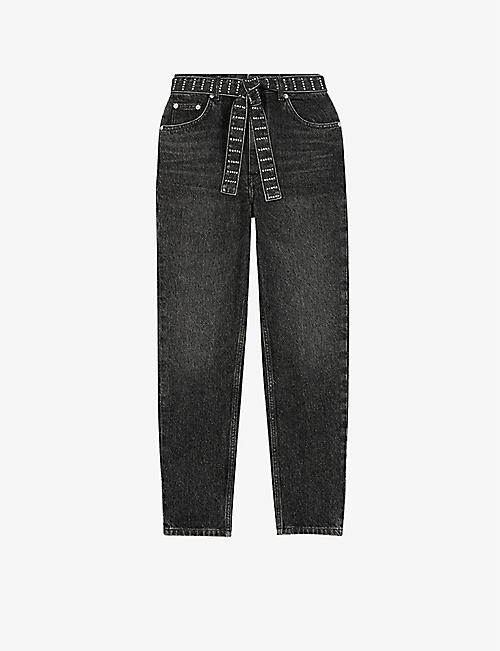 MAJE: Pariobelt embellished-belt high-rise mom jeans