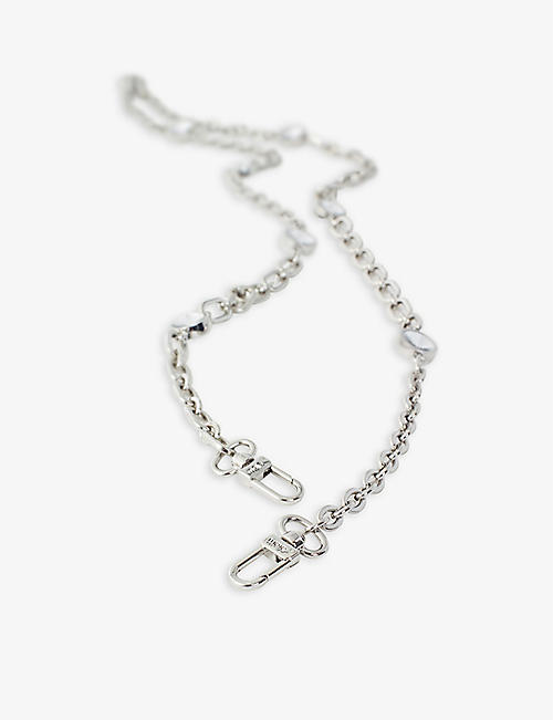 MAJE: Diamanté-embellished silver-toned chain shoulder strap