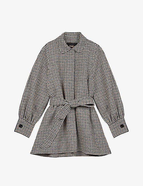 MAJE: Galico dogstooth double-faced wool coat