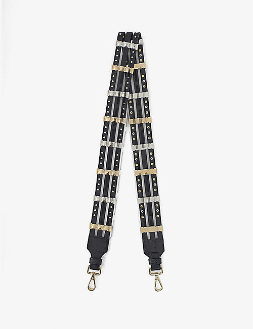 MAJE: Studded leather bag strap