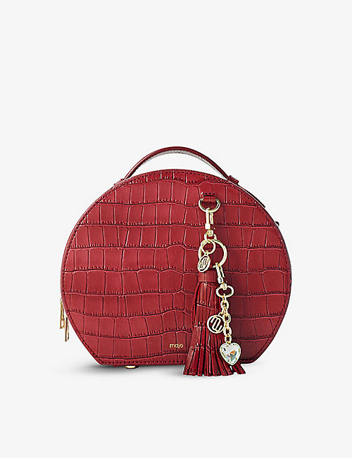 MAJE: Hotbox croc-embossed leather shoulder bag