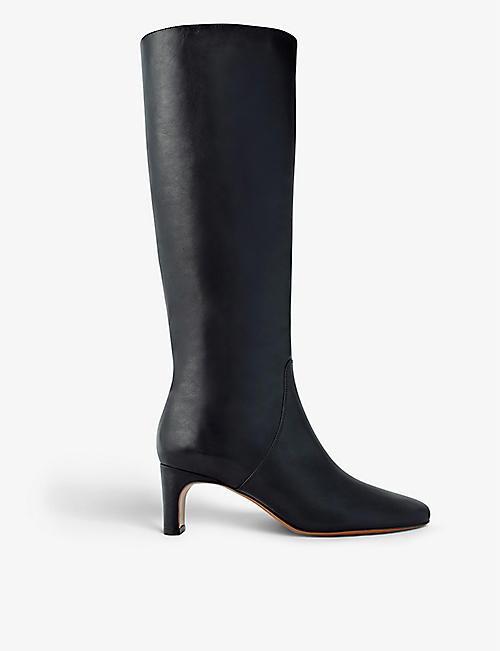 MAJE: Felicie heeled leather knee-high boots