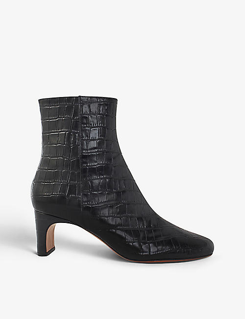 MAJE: Croc-embossed leather ankle boots