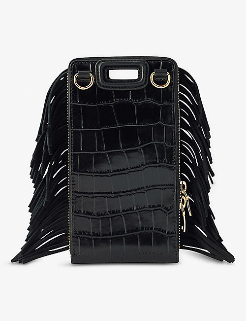 MAJE: M croc-embossed leather phone case