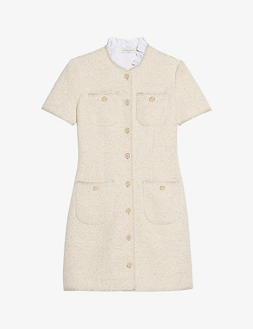 SANDRO: Taly ruffled-collar mini dress