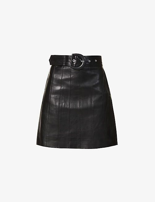 SANDRO: Leena belted leather mini skirt