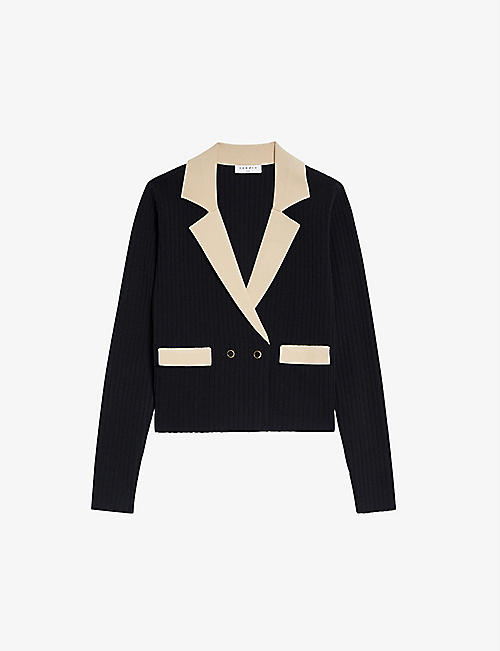 SANDRO: Barney contrast-collar knitted cardigan