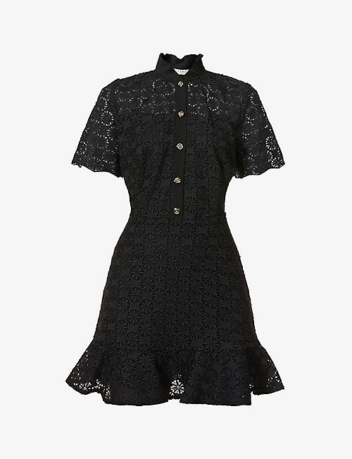 SANDRO: Felia ruffle-trimmed lace dress