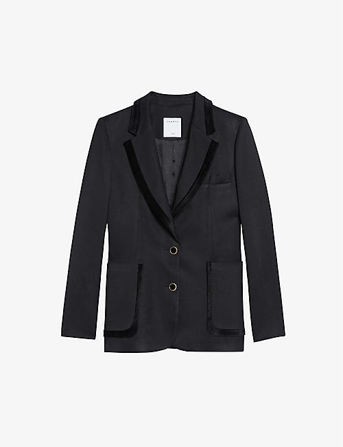 SANDRO: Elna single-breasted wool-blend blazer