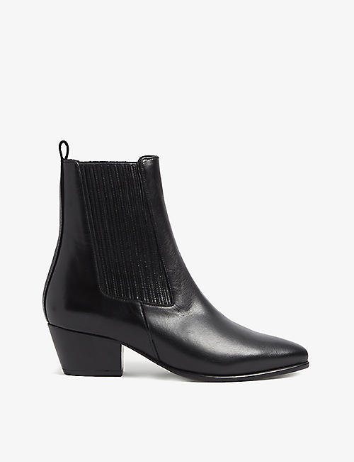 SANDRO: Almond-toe leather ankle boots