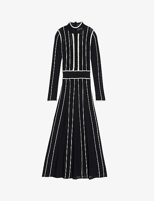 SANDRO: Alessia pointelle-knit midi dress