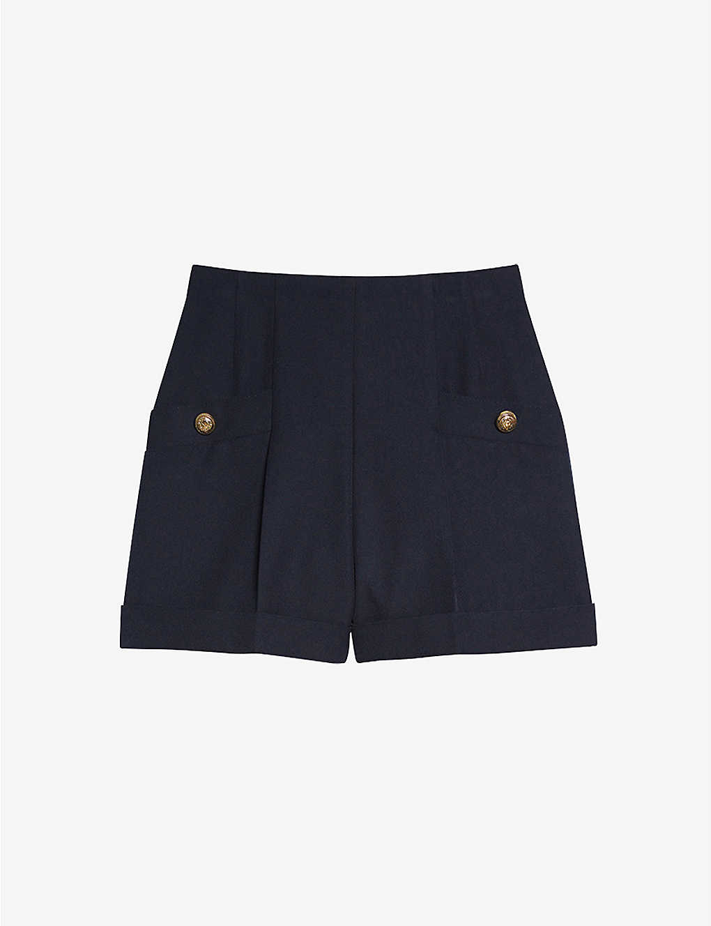 SANDRO: Siena high-waisted wool-blend shorts