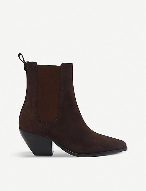SANDRO: Raph almond-toe suede ankle boots