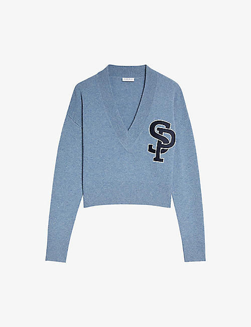 SANDRO: Didier V-neck wool and cashmere-blend jumper