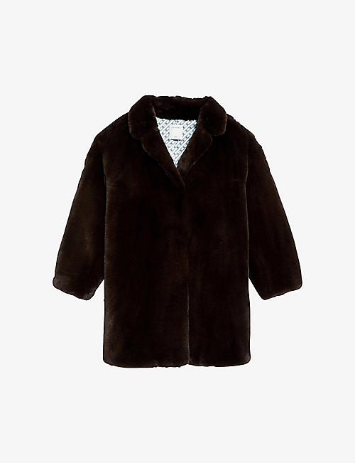 SANDRO: Fanye faux-fur single-breasted coat
