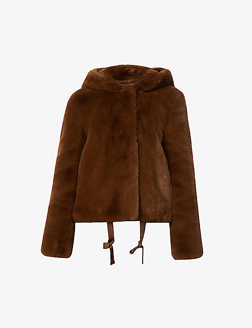 SANDRO: Mirage hooded faux-fur jacket