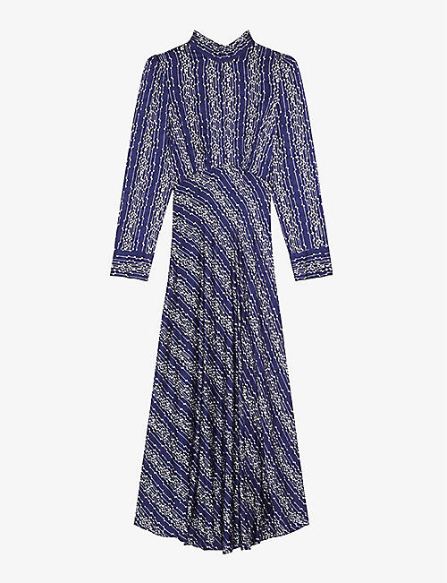 SANDRO: Angie graphic-print woven maxi dress