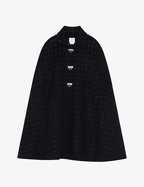 SANDRO: Virgila checked double-faced wool-blend cape coat