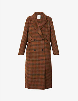SANDRO: Merry checked double-breasted wool-blend coat