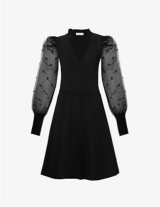 SANDRO: Elyna puff-shoulders knitted mini dress