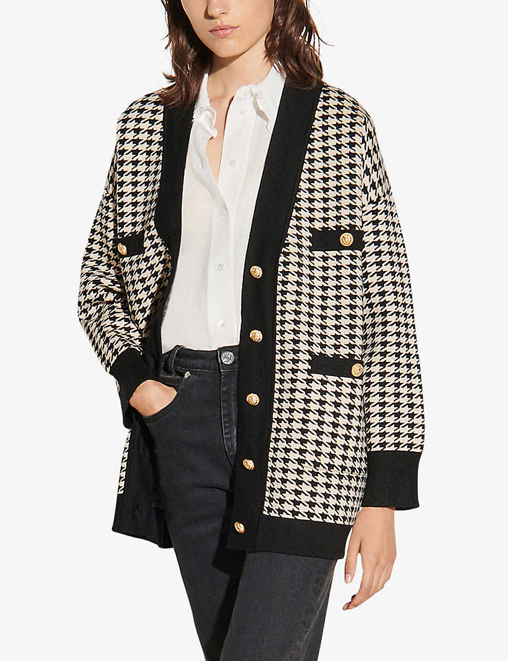 SANDRO Dane houndstooth knitted cardigan