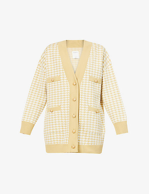 SANDRO: Dane houndstooth knitted cardigan