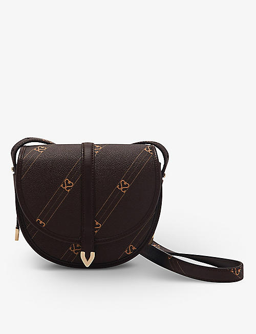 SANDRO: Monogram faux-leather cross-body bag