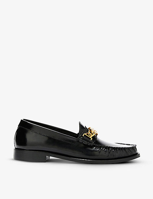 SANDRO: Joane chain-trimmed leather loafers