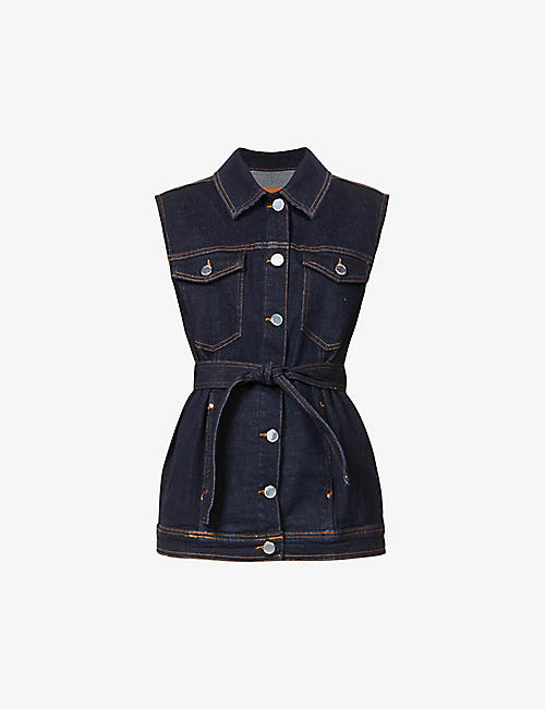 CLAUDIE PIERLOT: Vrai sleeveless stretch-denim jacket