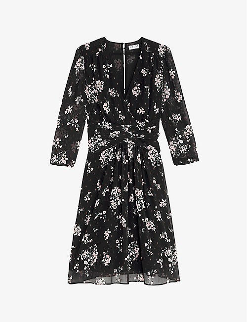 CLAUDIE PIERLOT: Rozen flora-print crepe midi dress