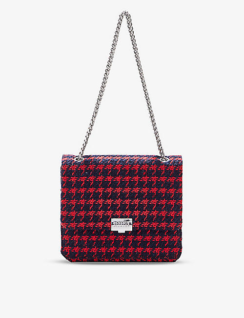 CLAUDIE PIERLOT: Angela gingham tweed shoulder bag