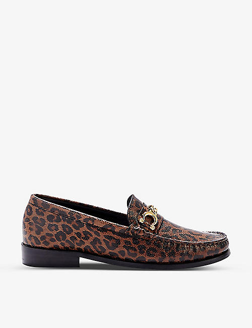 CLAUDIE PIERLOT: Amalice leopard-print leather loafers