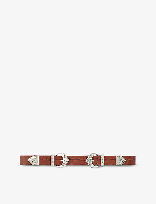CLAUDIE PIERLOT: Ariston oval-buckle leather belt