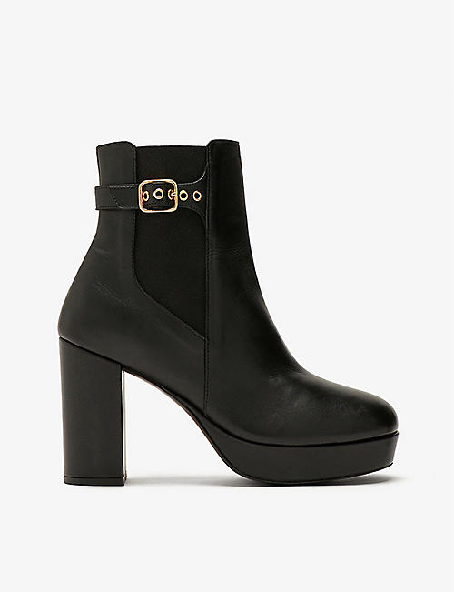 CLAUDIE PIERLOT: Plateau leather platform ankle boots