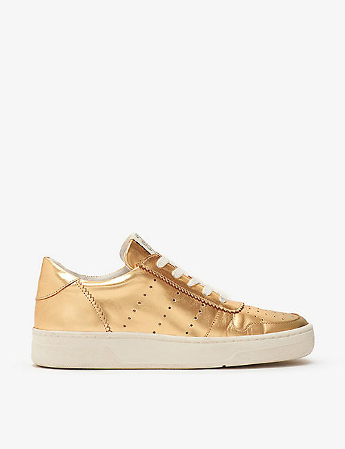 CLAUDIE PIERLOT: Chimie metallic leather trainers