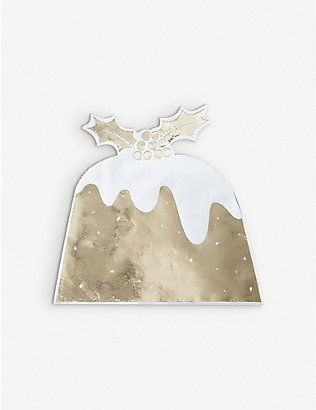 GINGER RAY: Christmas Pudding foiled paper napkins pack of 12