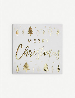 GINGER RAY: Merry Christmas foiled paper napkins pack of 16