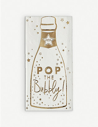 GINGER RAY: Pop the Bubbly Christmas foiled paper napkins pack of 16